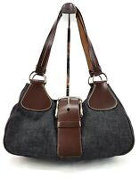 Prada Small Denim Leather Shoulder Bag Hobo Satchel Made In Italy Vintage
