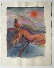 Belle et Grande AQUARELLE Paysage Nu Féminin Coucher de Soleil B. BOURRAUD 1976