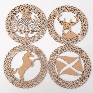 Wooden MDF Plaques - Scottish Thistle, Stag head, Unicorn & Flag -set of 4 items