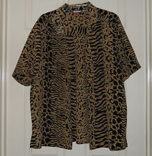 Tan Jay Woman's 100% Polyester Open Front Leopard Design Blouse Size 16 NWOT