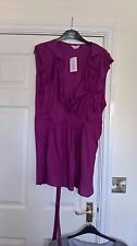 BNWT SIMPLY BE DARK PINK LONG SLEEVELESS TUNIC RUFFLE WRAP TOP PLUS SIZE 30
