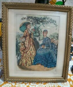 Modes de Paris French Fashion Ladies Framed Engraving Victorian
