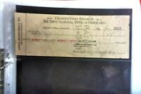 1926 GRANTS PASS 1ST NATIONAL BANK PORTLAND CHEQUE USED LEWIS INVESTMENTS