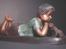 Bronze Fountain Boy & Frog Sculpture Signed Art w/ Pump