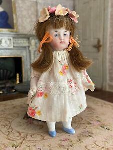 Antique Miniature Bisque Doll Girl German Floral Dress Brunette Hair Flowers