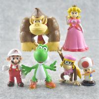 6pcs/Set Super Mario Bros PVC Figure Playset Decor Doll 3-9cm