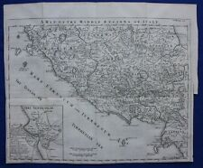 Original antique map ANCIENT ITALY, TUSCANY (ETRURIA) INSET MAP OF ROME, 1747