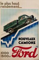 Affiche Art Deco Automobile - Raoul Auger - Camions Ford - Industriel  - 1927