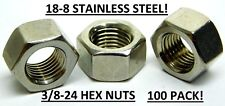 100 Pack! 3/8-24 Stainless Steel Hex Nuts Finished Fine Thread Grade 18-8 (NH)