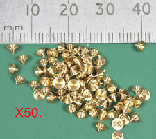 50 OO/HO gauge tapered (waisted) 2mm dia brass pin point rolling stock bearings.