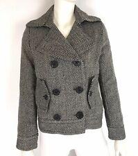 Delias Womens Herringbone Tweed Peacoat Jacket Hip Length Wool Blend Size Small