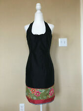 Laundry By Shelli Segal Women Black Floral Silk Halter Dress USA Made Size: 6