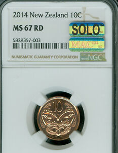 2014 NEW ZEALAND 10 CENTS NGC MS-69 MAC SOLO FINEST MAC SPOTLESS 300 MINTED RARE