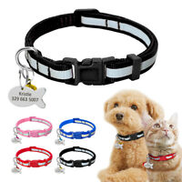 Reflective Personalised Small Cat Dog Collars&Tag&Bell Custom for Pet Puppy XS S