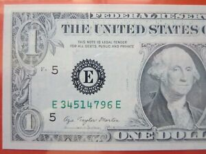 $1 1977 a federal reserve note graded error:  insufficient inking  26-080