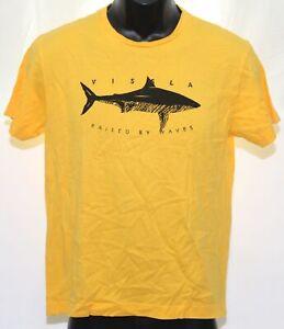 Vissla Raised By Waves Shark Logo Boys Surf Tee T-Shirt Youth Large Yellow Black