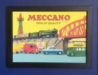 Meccano Hornby Dinky 1957 Framed A4 Size Poster Shop Sign Leaflet