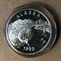1992 Anchorage Mint, Alaska Sport Fishing Medallion Silver Coin, w/ Box and COA