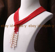 Wonderful 3 strand 6mm red coral and 7-8mm white freshwater pearl necklace
