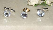 S/P Clear Cufflinks & Cravat/Corsage/Tie/Scarf Pin-Bridal-Formal Wear
