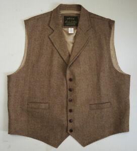 Orvis Signature Collection XXL Brown Herringbone Tweed Casual Wool Vest