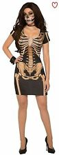 Womens Ladies Halloween Costume Dress Skeleton Bone Scary Outfit