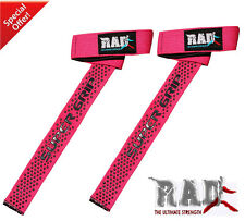 RAD Super Padded Weight Lifting Training Gym Straps Hand Wrap Wrist Support Pink