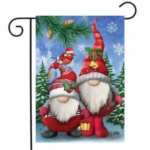 "Winter Gnomes Christmas Garden Flag Humor Santa Hats 12.5"" x 18"" Briarwood Lane"