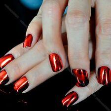 Metallic Plating False Nails Flat Top Acrylic Nail Tips Red Mirror 24pcs N09