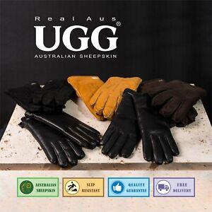 UGG Real Aus 100% Australian Sheepskin Wool Men Sheep Skin Suede Gloves Black