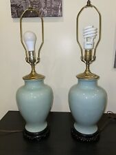 Pair of Chinese Celadon Porcelain Table Lamps