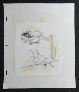 1950's KITTEN TALES Childrens Book Pencil Illustration G/VG 3.0 Angry Mom Bird