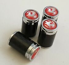 VAUXHALL Red Carbon Fibre Valve Dust Caps set x4 Black Chrome VXR Wheel Tire UK