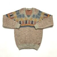 Vintage FILA Virgin Wool Sweater, Mens Size 42 Beige Multi-Colored Made In Italy