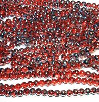 G1780 Dark Orange 8mm Round Multi-Color Metallic Swirl Drawbench Glass Bead 32""