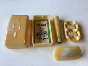 Vintage 'Nymph' Souplex Ladies EarlY Safety Razor Set Butterscotch Bakelite
