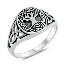 Oxidized Celtic Tree Of Life .925 Sterling Silver Band Ring Sizes 5-10 NEW