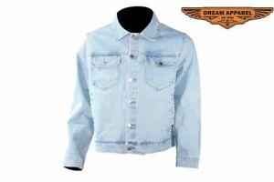 Men's Motorcycle Lightweight Denim Shirt w/ Multiple Pockets & Buttoned Closure