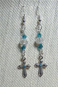 BLUE CRYSTAL CROSS 925 STERLING SILVER WIRE EARRINGS W/SWAROVSKI ELEMENTS