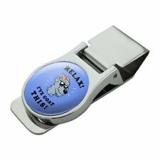 Relax I've Goat This Got Funny Humor Satin Chrome Plated Metal Money Clip