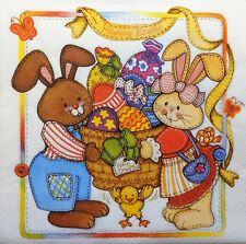 20 x PAPER NAPKINS FULL EASTER EGGS BUNNY FAMILY  PACK PARTY  TABLE  W7