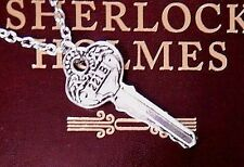 SHERLOCK HOLMES KEY to 221B Baker Street SILVER flat cosplay necklace pendant A5