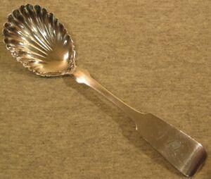Butler & McCarthy, 1850 Coin Silver Sugar Shell Spoon, Fiddle, Tipped, Mono