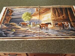 Sundance Panel 23x42 Lane Kendrick Quilting Treasures Horse Canyon River
