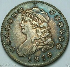 """1815 Capped Bust Quarter Counter-stamped """"E"""" / PCGS XF - Details, cleaned"""