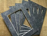 PACK 5 MARBLE BLUE COLOUR PICTURE FRAME MOUNTS 8 x 6 INCH FOR 6 x 4 PHOTO PRINT