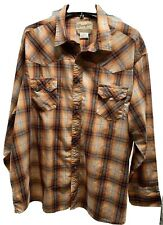 Wrangler Western Fashion Mens 3XL Orange Pearl Snap Long Sleeve Cowboy Shirt