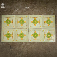 More details for set of 8 original decorative green and white tiles