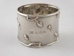 PRETTY ART NOUVEAU SOLID STERLING SILVER NAPKIN RING WILLIAM DEVENPORT 1904 26 g