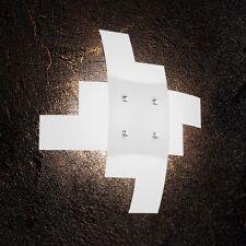 Plafoniera in vetro bianca e cromata moderna a 4 luci tpl 1120/55